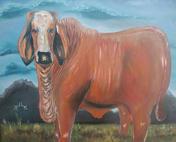 Hereford Bull Painting - Brahmin-hereford X by Lettie Atkins