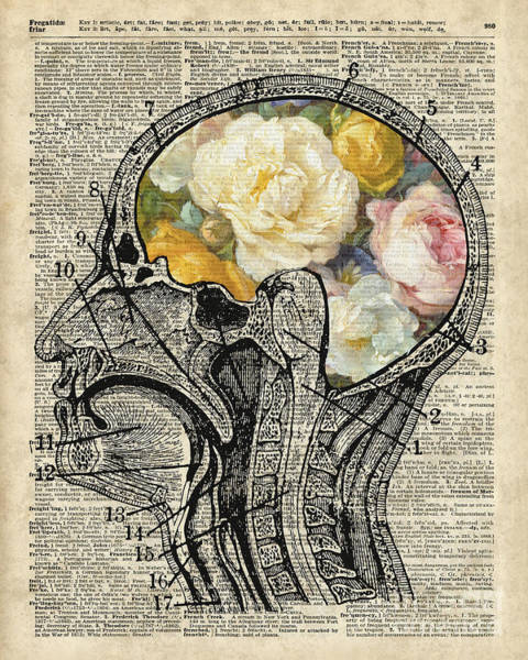 Page Mixed Media - Brain Full Of Flowers Dictionary Art by Anna W