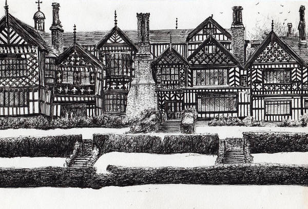 Garden Wall Drawing - Bramall Hall by Vincent Alexander Booth