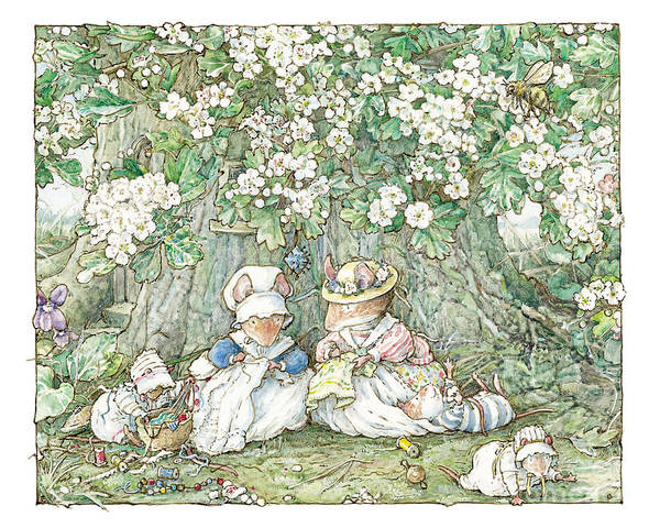 Wall Art - Drawing - Brambly Hedge - Hawthorn Blossom And Babies by Brambly Hedge