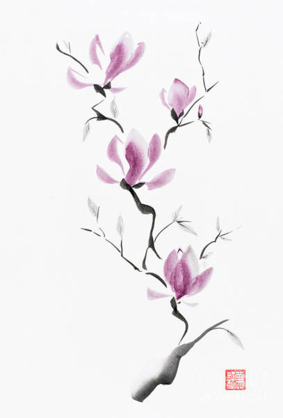 Blooming Tree Mixed Media - Branch Of Blooming Purple Magnolia Flowers Japanese Zen Sumi-e P by Awen Fine Art Prints