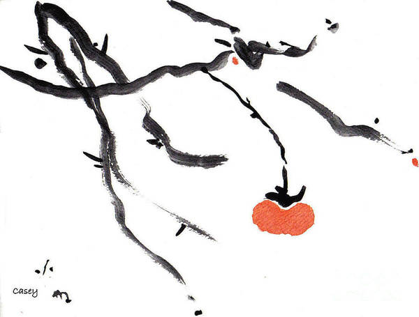 Persimmon Painting - Branches With A Persimmon by Casey Shannon