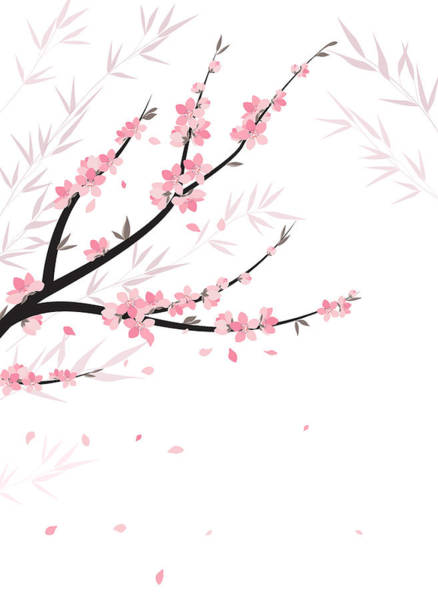 Blooming Tree Drawing - Branches With Flowers by Miroslava Hlavacova