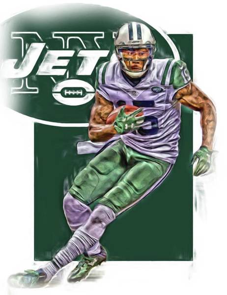 New York Jets Wall Art - Mixed Media - Brandon Marshall New York Jets Oil Art by Joe Hamilton
