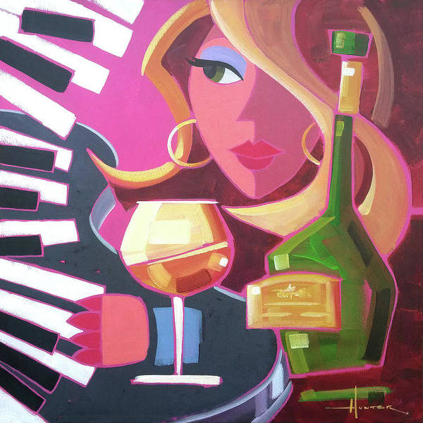 Piano Bar Painting - Brandy by Larry Hunter
