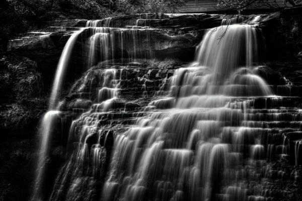 Brandywine Falls At Cuyahoga Valley National Park B W Art Print
