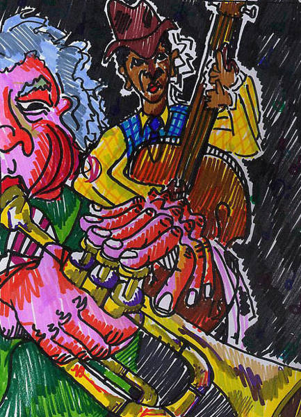 Marker Drawing - Brass And Bass by Jame Hayes