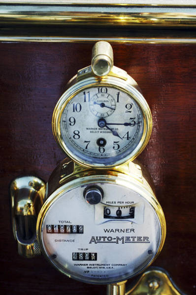 Photograph - Brass Auto-meter Speedometer by Jill Reger
