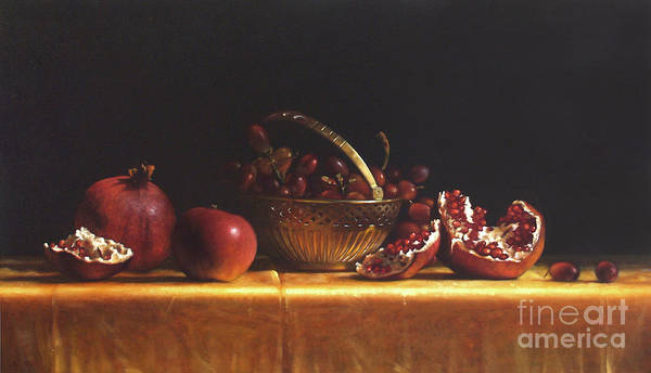 Pomegranates Painting - Brass Basket by Lawrence Preston