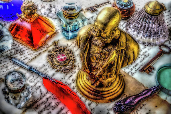 Wall Art - Photograph - Brass Bust And Ink Wells by Garry Gay