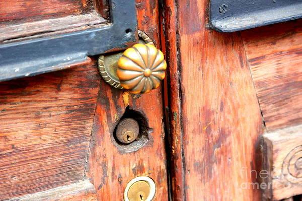 Photograph - Brass Door Knob On Wooden Door by Carol Groenen