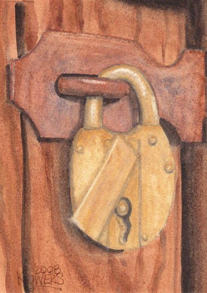 Painting - Brass Lock On Wooden Door by Ken Powers