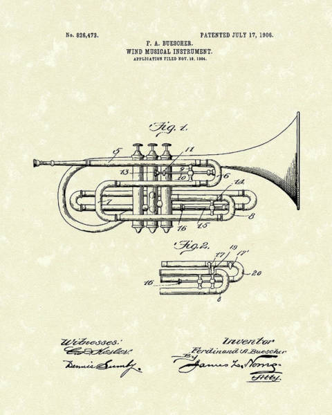 Drawing - Brass Musical Instrument 1906 Patent by Prior Art Design