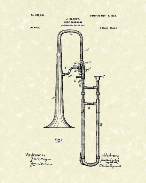 Patent Drawing Wall Art - Drawing - Brass Trombone Musical Instrument 1902 Patent by Prior Art Design