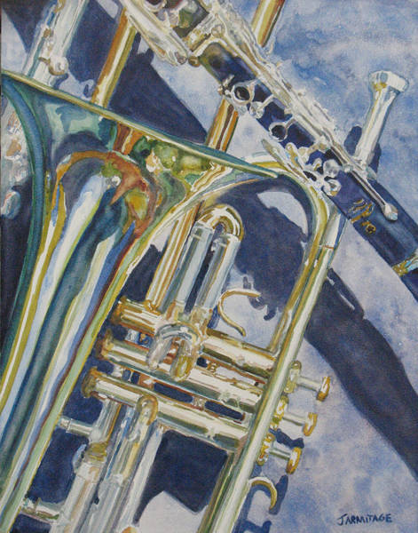 Trombone Wall Art - Painting - Brass Winds And Shadow by Jenny Armitage