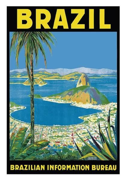 Wall Art - Digital Art - Brazil Rio De Janeiro Vintage World Travel Poster by Retro Graphics