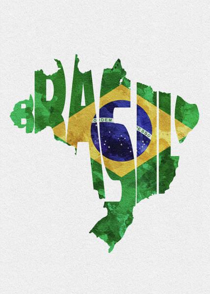 Wall Art - Digital Art - Brazil Typographic Map Flag by Inspirowl Design