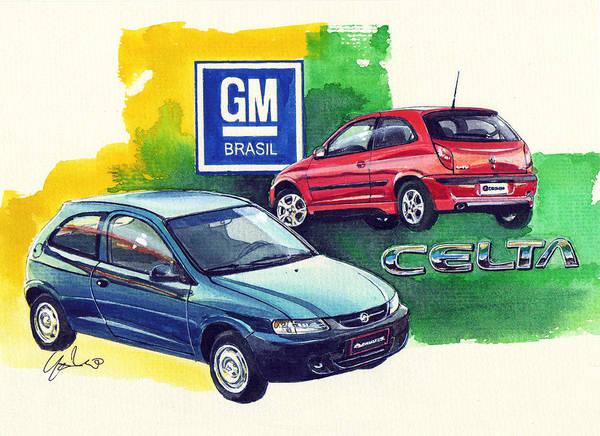 Brazil Painting - Brazilian Chevrolet Celta by Yoshiharu Miyakawa