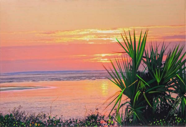 Painting - Breach Inlet Sunrise Palmetto  by Virginia Bond
