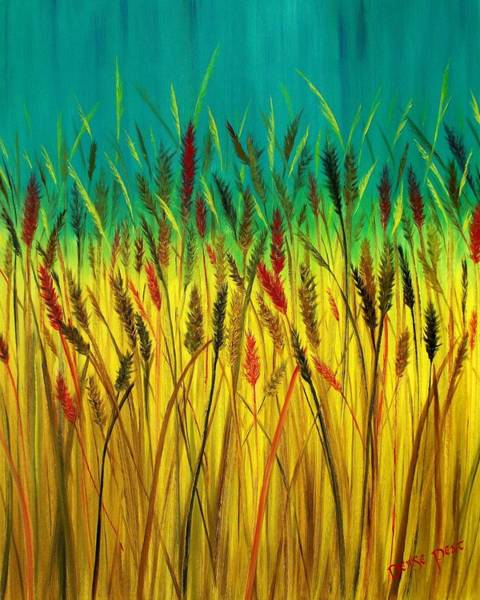 Meadowlands Painting - Fields Of Wheat by Denise C Peat