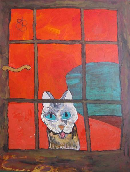Painting - Break And Enter Cat by AJ Brown