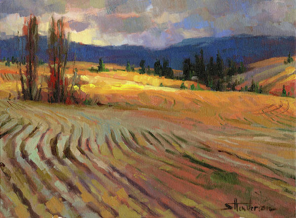 Wheat Wall Art - Painting - Break In The Weather by Steve Henderson