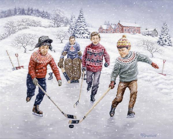 Boys Playing Hockey Painting - Breakaway by Richard De Wolfe