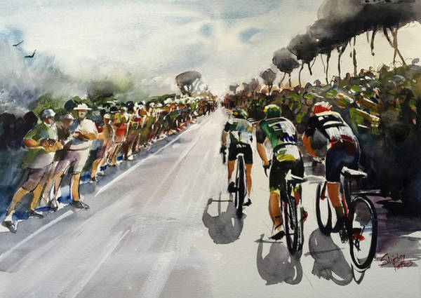 Le Tour De France Wall Art - Painting - Breakaway Through Crowds  by Shirley Peters