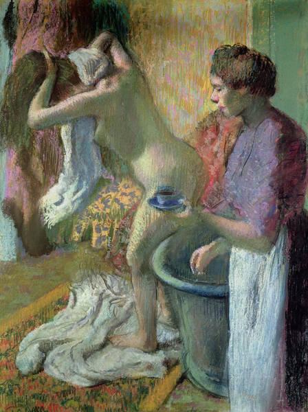 Bath Room Wall Art - Pastel - Breakfast After A Bath by Edgar Degas