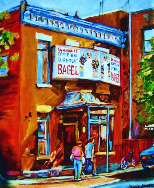 Painting - Breakfast At The Bagel Cafe by Carole Spandau
