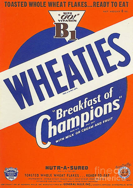 Photograph - Breakfast Cereal Wheaties Breakfast Of Champions Pop Art Nostalgia 20160215 by Wingsdomain Art and Photography