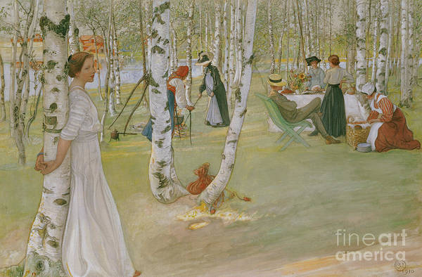 Picnic Basket Wall Art - Painting - Breakfast In The Open, 1910 by Carl Larsson