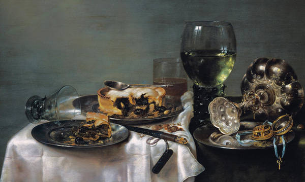Life After Life Wall Art - Painting - Breakfast Table With Blackberry Pie by Willem Claeszoon Heda