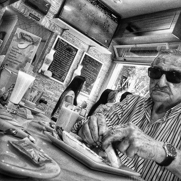 Wall Art - Photograph - Breakfast Time  #man #eat #food #bar by Rafa Rivas