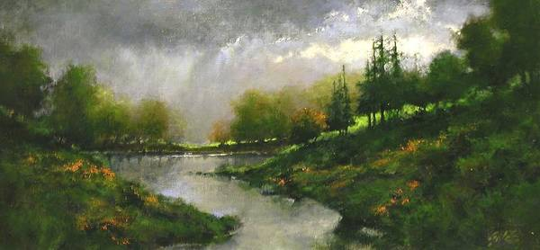 Stream Wall Art - Painting - Breaking Clouds by Jim Gola