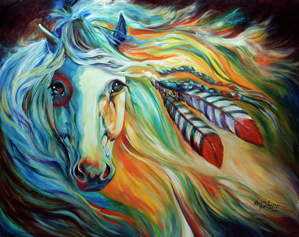 Painting - Breaking Dawn Indian War Horse by Marcia Baldwin