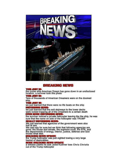 Trump Digital Art - Breaking News by Joe  Palermo