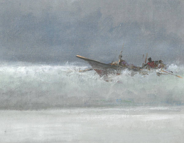 Grey Skies Wall Art - Painting - Breaking The Surf  Sri Lanka by Lincoln Seligman