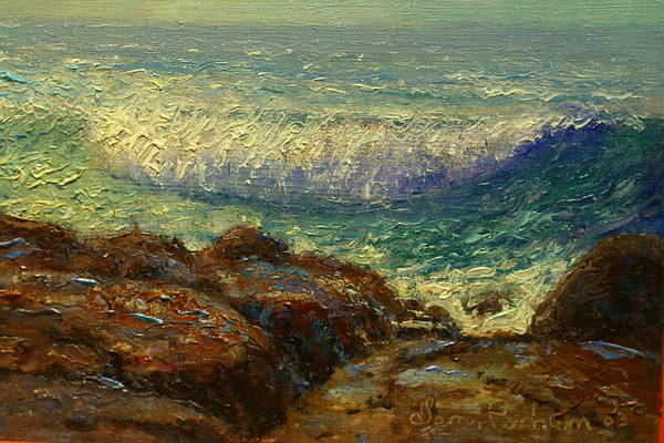 Nz.impressionist Painting - Breaking Wave by Terry Perham