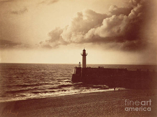 Grey Skies Wall Art - Photograph - Breakwater At Sete by Gustave Le Gray