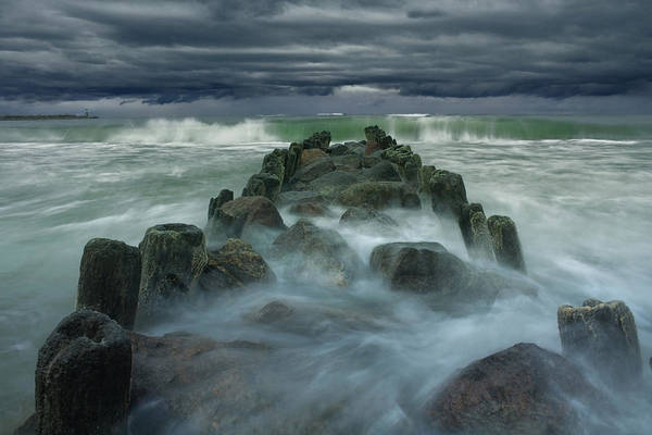 Waves Photograph - Breakwater by Dmitry Kulagin