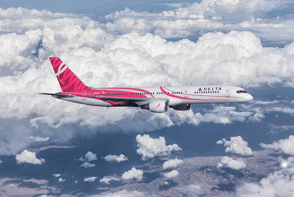 Delta Mixed Media - Delta Air Lines Breast Cancer Awareness Special Livery by Erik Simonsen