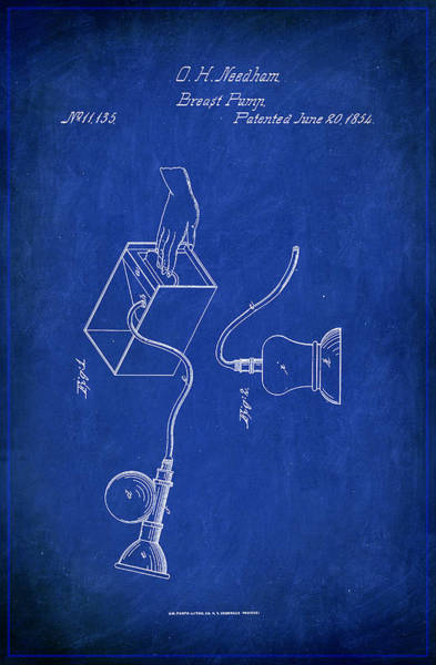 Pregnancy Mixed Media - Breast Pump Patent Drawing 1b by Brian Reaves