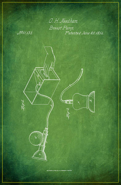 Pregnancy Mixed Media - Breast Pump Patent Drawing 1e by Brian Reaves