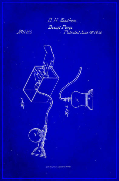 Pregnancy Mixed Media - Breast Pump Patent Drawing 1f by Brian Reaves
