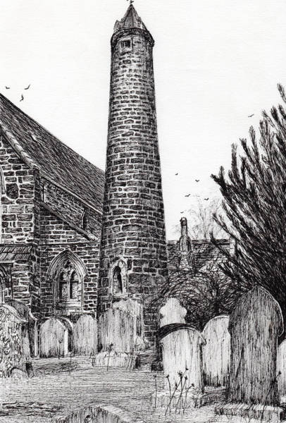 Weeds Drawing - Brechin Round Tower by Vincent Alexander Booth