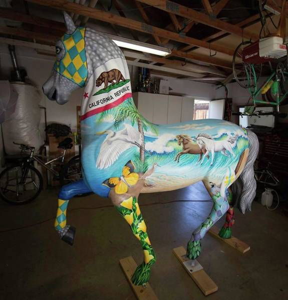 Painting - Breeders Cup Fiberglass Horse Left by Tish Wynne