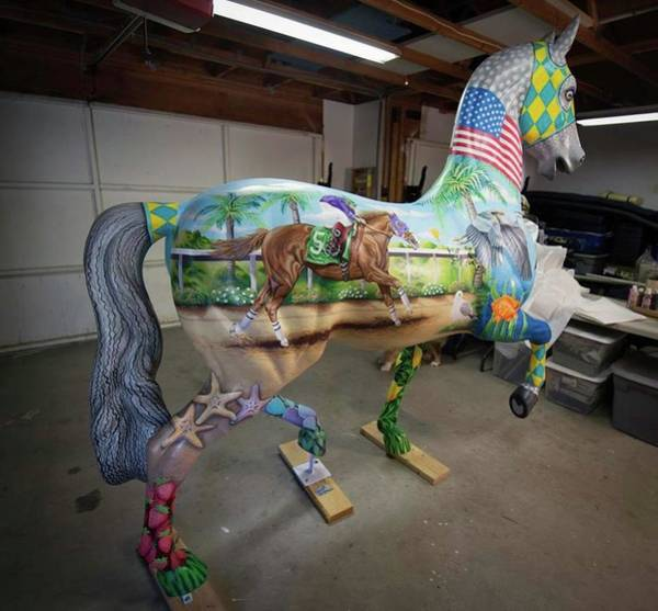 Painting - Breeders Cup Fiberglass Horse Right Back by Tish Wynne