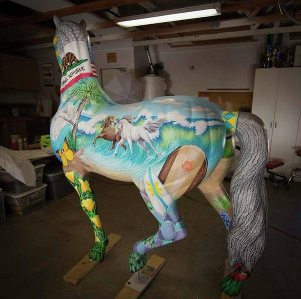 Painting - Breeders Cup Fiberglass Horseleft Back by Tish Wynne