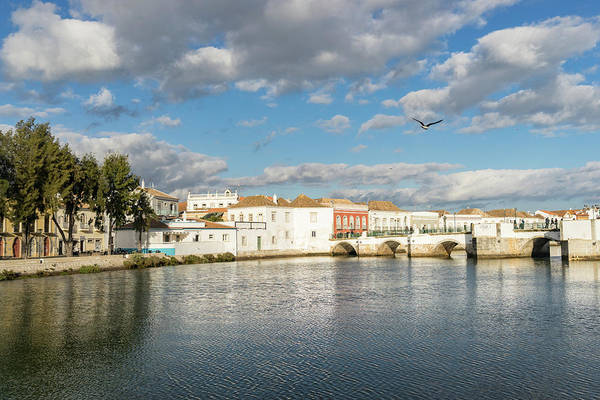Photograph - Breezy Sunshine - Tavira Gilao River And The Ancient Roman Bridge by Georgia Mizuleva